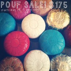 Leather Moroccan Poufs from Vanillawood!   $175  Tobacco leather pouf, hot pink leather pouf, gold leather pouf, red leather pouf, white leather pouf, teal leather pouf...and more!