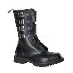 DEMONIA ATTACK-10 Men's Black Leather Steel Toe Boots