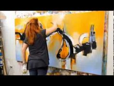 VERY COOL Demostración pintura abstracta con acrilico - YouTube