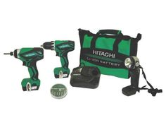 Hitachi Peak Cordless Lithium Ion Driver Drill and Impact Driver Combo Kit (Lifetime Tool Warranty) - Products Lists of Tools and Hardware Cordless Impact Drill, Cordless Drill Reviews, Cordless Hammer Drill, Cordless Circular Saw, Drill Set, Power Hand Tools, Impact Driver, Drill Driver, Nylon Bag