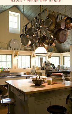 vaulted kitchen ceiling with pot rack and eye level windows; mell lawrence & david peese design