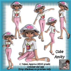 6 cute amity poser tubes on Craftsuprint designed by Michelle Johnson - this is a set of 6 posers in png format approx 1600 pixels for any graphics program. These poser tubes are of a cute pixie named amity wearing cute summer clothes which would be great for any girls birthday - Now available for download!