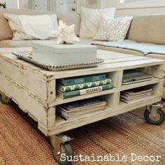 Distressed coffee table with wheels!!!
