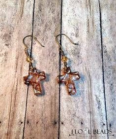 Glass gold and brown cross earrings on brass-antique gold cross earrings-czech glass cross earrings-dichroic glass-copper and brown crosses