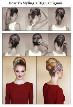 How to Styling a High Chignon. An Audrey Hepburn-Esque High Chignon Vintage Hairstyles Tutorial, Retro Hairstyles, Wedding Hairstyles, Vintage Updo Tutorial, Peinados Pin Up, Natural Hair Styles, Long Hair Styles, Hair Today, Hair Dos