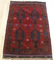 "2'9""x4'5"" Vintage Hand-knotted wool Persian Balouch Tribal Oriental area rug"