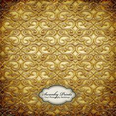 LARGE 5ft x 5ft Vinyl Photography Backdrop /  Gold Metal