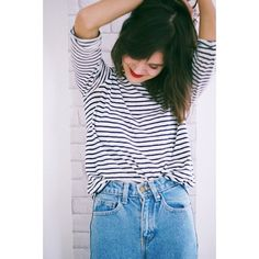Basics. Denim, stripes, red lips. Combination for perfection.