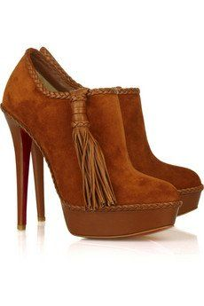 72bc3a4818fc84 gorgeous but could never walk in them! Louboutin s Suede Ankle Boots