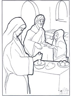 Jesus with mary and martha color page ministry vbs for Mary and martha coloring page