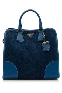 Prada Denim   Saffiano Shopping Bag