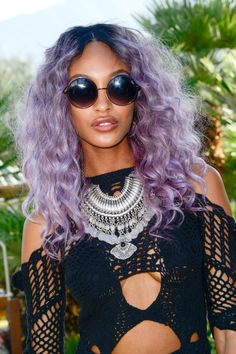 Want to try rainbow colored hair? 15 colorful hair ideas that look chic: Jourdan Dunn's lavendar hair color
