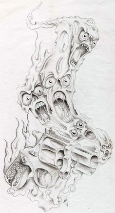 smokin gun by markfellows on DeviantArt Evil Skull Tattoo, Evil Tattoos, Demon Tattoo, Tattoos Skull, Body Art Tattoos, Tribal Tattoos, Hand Tattoos, Flame Tattoos, Samurai Tattoo