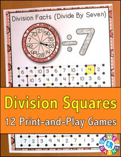 """Division Squares"" Game contains 12 fun and engaging games to help students practice their division facts.  Each one-page division game gets students practicing a different set of division facts (÷1, ÷2, ÷3, etc). This means that you can have each student practicing the set of facts that he/she needs the most help with."