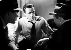 Humphrey Bogart as Sam Spade with Ward Bond and Barton MacLane in The Maltese Falcon (John Huston, 1941)