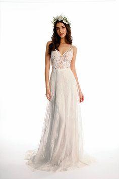 Sexy & Bohemian Sheer Top wedding dress, Joy Collection by Barbara Kavchok- Eugenia Couture