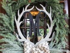 Silver Antlers with Initials and Wreath...Hello Winter!