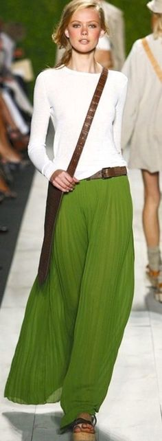 MEB's note: imagining this as palazzo pants. Michael Kors Long Pleated Skirt