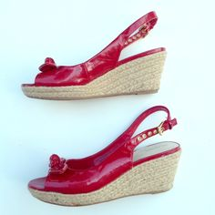 MERONA patent red espadrille wedges shoes 6.5 Good used condition! From my own shoe closet. These have had a repair to the elastic attached to the straps, shown. Size 6.5 US women's. Check this closet for more used size 6 1/2 and size 7, and 7.5 shoes and boots. I am reselling shoes from my own closet and my mother's. If you are looking for new and designer shoes in all sizes and many styles, check my closet @ringleader. Orders from both closets can be combined in bundles for up to 5 pounds…