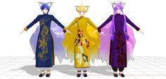 MMD China dress foxes Len, Kaito, Gakupo DL by nunununun.deviantart.com on @DeviantArt