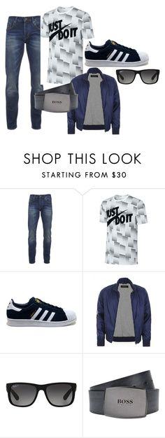 """casual man"" by alessandra-loma on Polyvore featuring Scotch & Soda, NIKE, adidas, Gucci, Ray-Ban, BOSS Black, men's fashion e menswear"