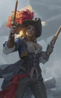clash of guns, Song Nan Li Character Creation, Fantasy Character Design, Character Design Inspiration, Character Concept, Character Art, Dnd Characters, Fantasy Characters, Female Characters, Pirate Art