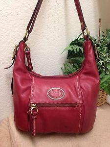 Giani Bernini Gb Red Distressed Leather Hobo Bag Shoulder Handbag Large Ex Ebay