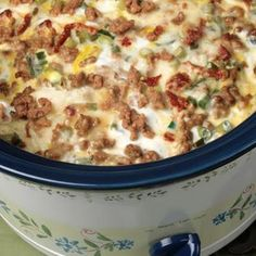 Slow Cooker Sausage Breakfast Casserole- perfect, you can wake up to it! A good Christmas morning recipe.Christmas Morning -Slow Cooker Sausage Breakfast Casserole- perfect, you can wake up to it! A good Christmas morning recipe. Crock Pot Recipes, Slow Cooker Recipes, Cooking Recipes, Casserole Recipes, Egg Casserole, Crock Pots, Crockpot Ideas, Crockpot Dishes, Crock Pot Breakfast Recipes