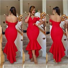 2016 Dubai Red Mermaid Cocktail Party Dresses Sexy Off Shouler Long Prom Evening Dresses Cheap Hi-Lo African Arabic Women Plus Size Gowns
