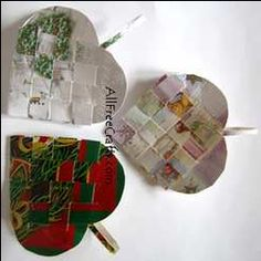 Christmas cards to make woven baskets.. use as ornaments, presents, etc