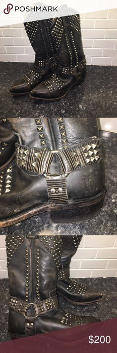 Frye Billie Biker Boot 💓 Gorgeous leather studded boots- pointed toe pull on style! Slight wearing on toes and one scuff on back- also lost one stud ( see pics)- wouldn't be hard to attach another one! z#0550 Frye Shoes Combat & Moto Boots