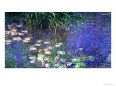 Waterlilies (Les Nympheas), Study of the Morning Water Stampa gicl�e di Claude Monet su AllPosters.it