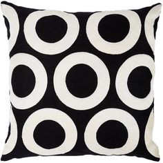 V Rugs & Home Open Circles Throw Pillow (1.370 RON) ❤ liked on Polyvore featuring home, home decor, throw pillows, black, black and white home decor, black accent pillows, circle throw pillows, barneys new york and black and white throw pillows