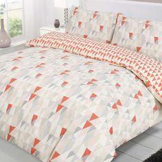 Abode Gala Geometric Coral Cream Beige Reversible Double Duvet Quilt Cover Bedding Set: Amazon.co.uk: Kitchen & Home