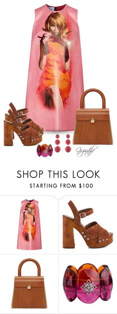 """""""Wood Bag and Shoes"""" by gigisstyle ❤ liked on Polyvore featuring Prada, Lucky Brand, Prim by Michelle Elie, Miriam Salat and Rebecca de Ravenel"""