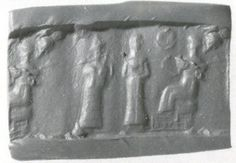 Cylinder seal  Period:Old Babylonian Date:ca. 19th–16th century B.C. Geography:Mesopotamia Culture:Babylonian Medium:Hematite Dimensions:0.89 in. (2.26 cm)