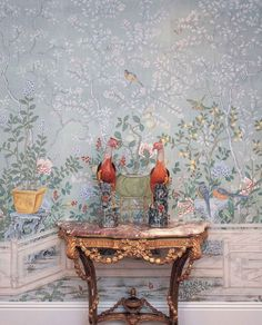 Hand-painted Chinoiserie wallpaper, possibly 18th century.