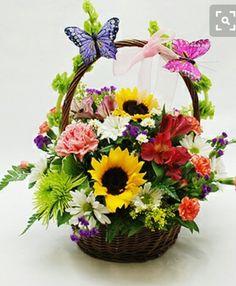 New Basket Flower Arrangements Mothers Ideas Basket Flower Arrangements, Silk Floral Arrangements, Beautiful Flower Arrangements, Beautiful Flowers, Ikebana, Deco Floral, Arte Floral, Easter Flowers, Spring Flowers