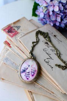 Lavender Photo Art Brass Perfume Locket