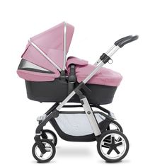 The new Vintage Pink Pioneer pram system from Silver Cross, shown here in carrycot mode.