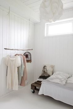 White bedroom with clothing rack. Home Bedroom, Bedroom Decor, Bedrooms, Scandinavian House, Creation Deco, Interior Decorating, Interior Design, My Room, Interior Inspiration