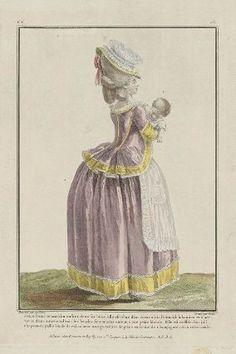 1779, Jeune Dame tenant sou enfant dans ses bras: elle est vêtue d'un caraco à la Polonoise à bandes et à nervures d'une autre couleur: les bandes sont ornées autour, d'une petite blonde. Elle est coïffée d'un joli chapeau de paille bordé de ruban avee une garniture de gaze en forme de champignon, et un ruban roulé.