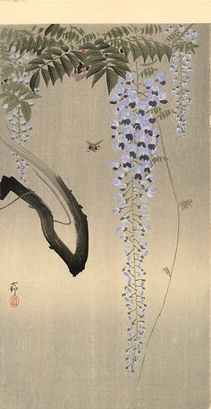 in the spirit of being enough.....Wisteria and Bee - Ohara Koson
