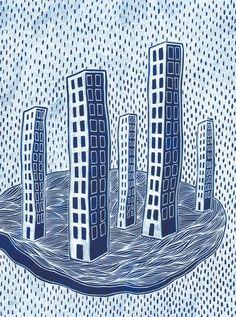 Illustration of a sky city