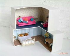 Shoebox Doll House http://mollymoocrafts.com/diy-dollhouse/