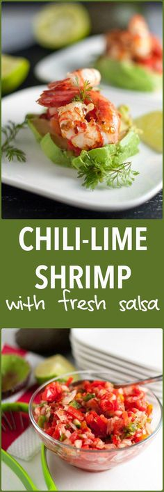 Succulent Grilled Chili Lime Shrimp with Fresh Salsa. Showstopper appetizer, super easy to make! Just slice an avocado, top with fresh salsa, and add some grilled chili lime shrimp. Seafood Recipes, Paleo Recipes, Appetizer Recipes, Cooking Recipes, Easy Recipes, Cooking Ideas, Seafood Menu, Paleo Appetizers, Thai Cooking