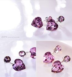 Stunning 925 Sterling Silver Front and Back Earrings, with Violet Swarovski Crystal Heart