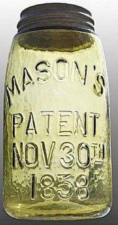 Mason's, Patent Nov 30th 1858, Lemon Yellow, QuartA quart Mason's Patent Nov 30th 1858 fruit or canning jar in lemon yellow
