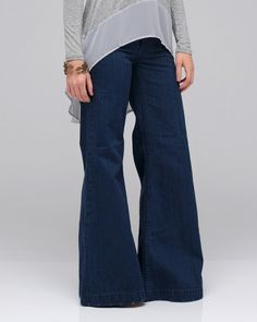 Let's all carry the 70s high-rise bell bottom trend to the forefront. Yes.