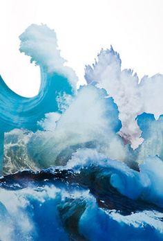 Ocean waves in watercolor perhaps?